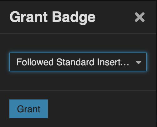 Grant Badge dialog